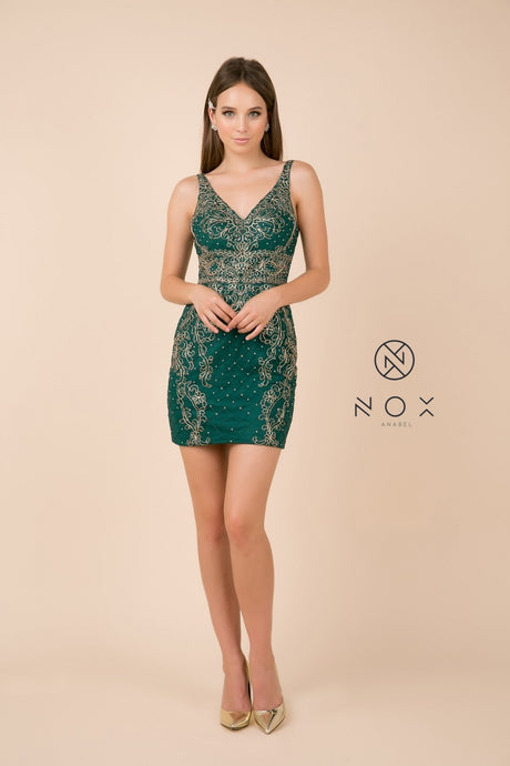 Nox N A673 - Embellished Short Sleeveless V-Neck Homecoming Dress - Diggz Prom