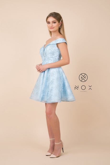 N A676 - Appliqued Short Off the Shoulder A-Line Homecoming Dress - Diggz Prom
