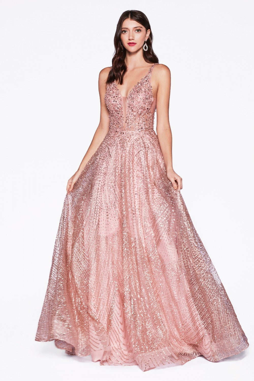 Cinderella Divine Chart I CD AM258 - A-Line Ballgown with Sheer Embellished Lace Bodice & Layered Glitter Tulle Skirt - Diggz Prom