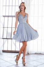 Cinderella Divine Chart I CD AM391 - A-line Short Dress with Pleated Glitter Fabric Details and Criss-Cross Back - Diggz Prom