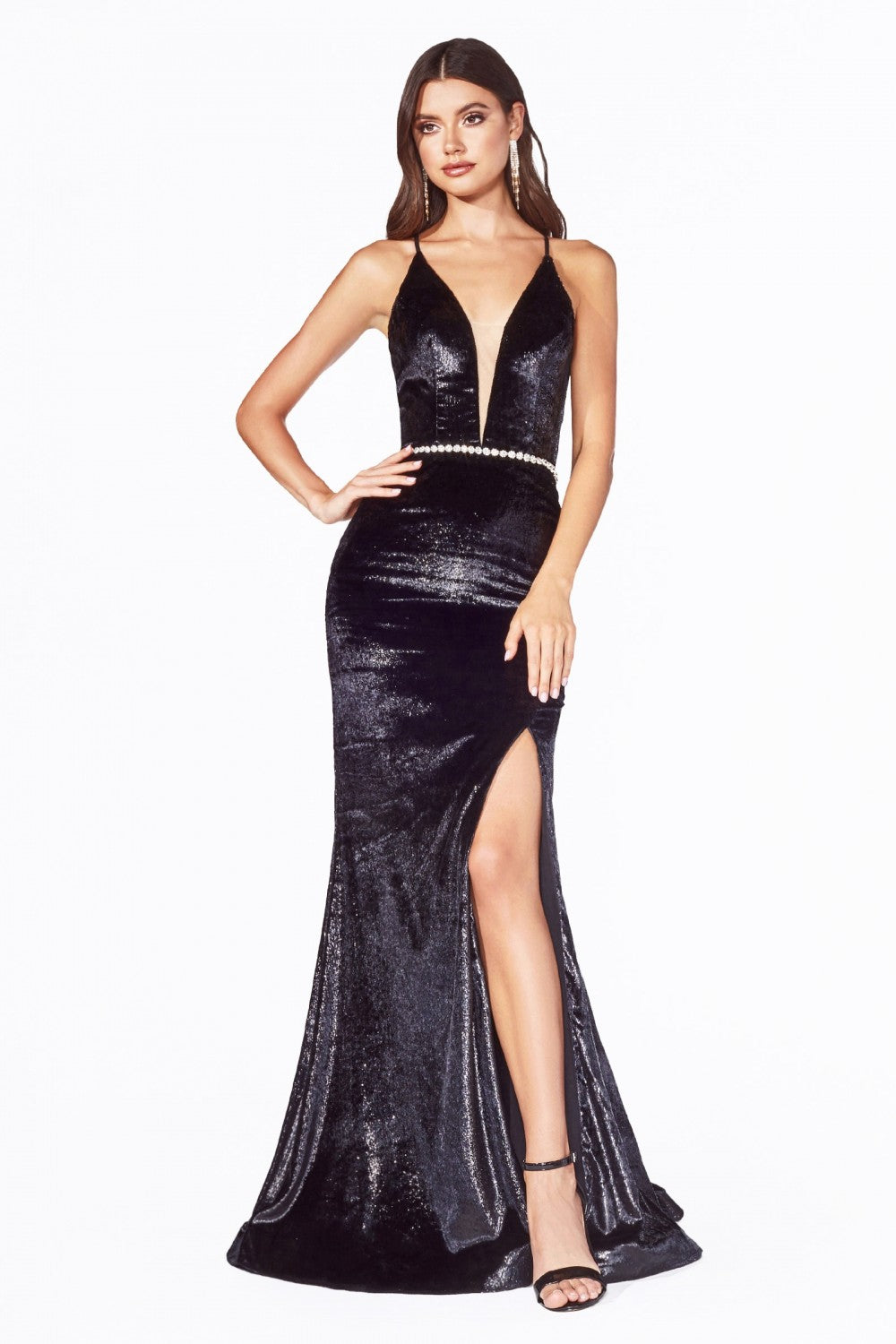 Cinderella Divine Chart I CD B60122 - Fitted dress with metallic faux fur and open lace up back. - Diggz Prom