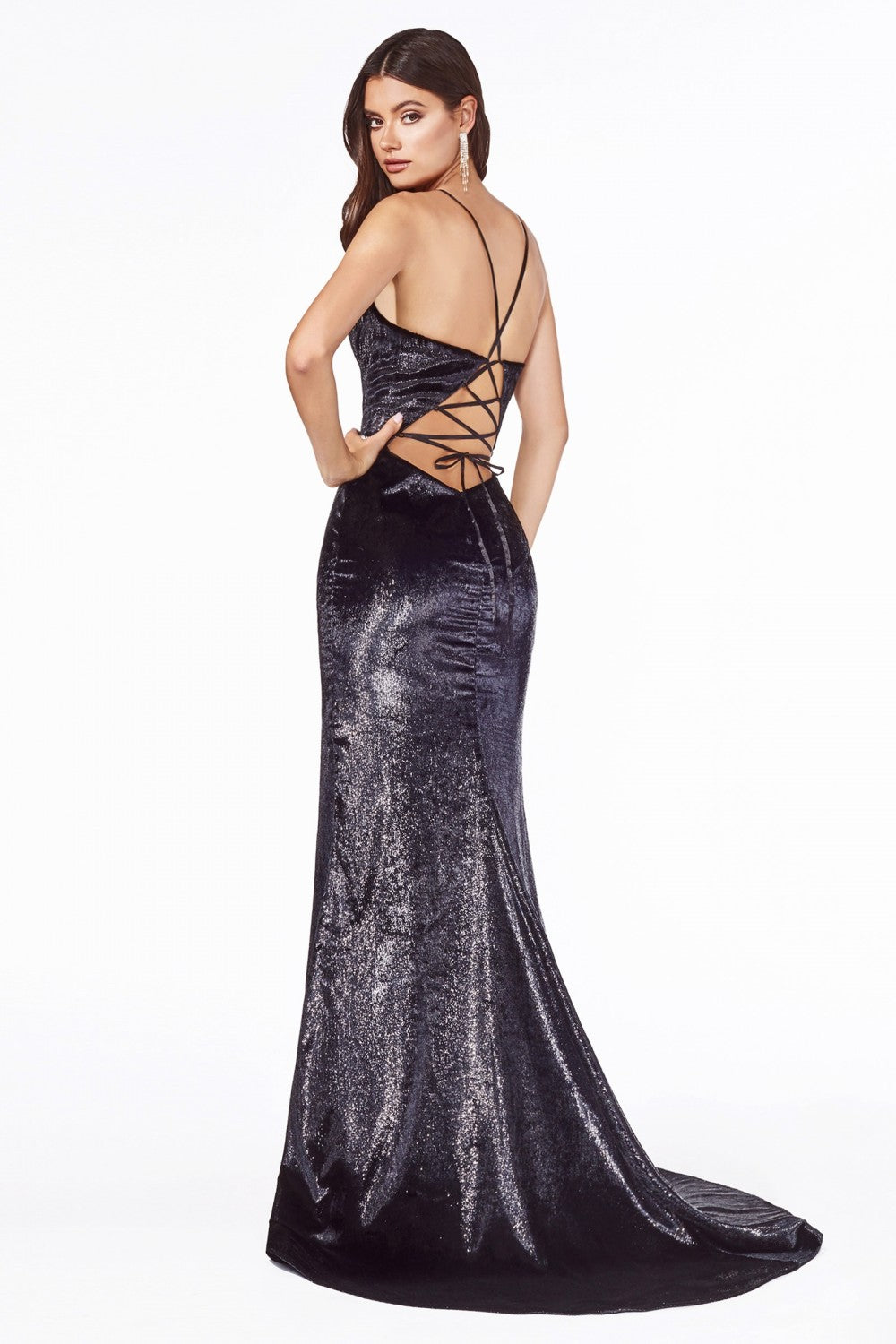 CD B60122 - Black Metallic Faux Fur Fit & Flare Gown with Open Lace Up Back