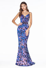 CD B60161 - Iridescent Sequin on Velvet Fit & Flare Prom Gown with V-Neck & Open Back - Diggz Prom