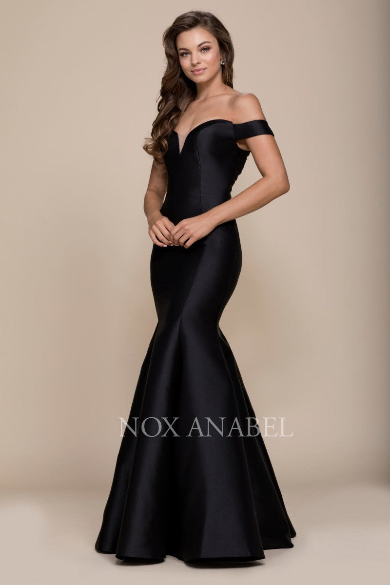 Nox N C004 - Off the Shoulder Satin Fit & Flare with Sweetheart Neck and Train - Diggz Prom