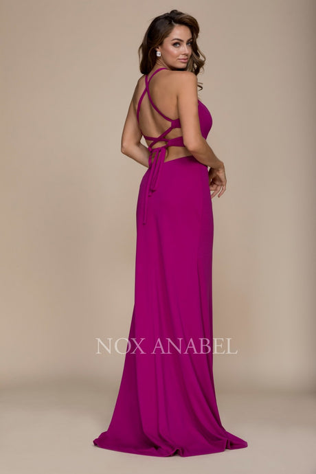 Nox N C026 - Fit & Flare Halter Neck- Prom Gown with Cut Out Sides & Spaghetti Corset Back - Diggz Prom