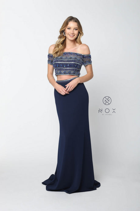 Narianna Size Chart B N C082 - Fully Beaded Off-the-Shoulder Two-Piece with Jersey Skirt - Diggz Prom