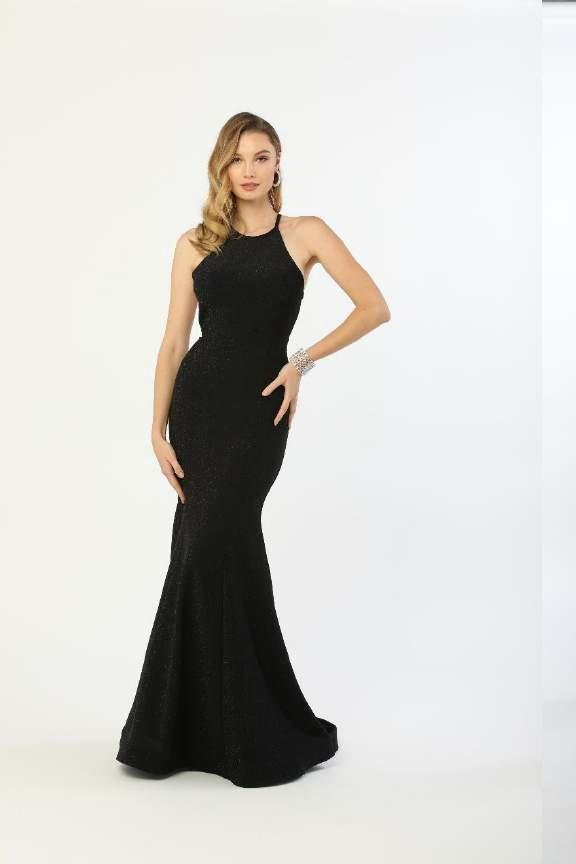 N C208 - Sparkling Metallic High Neck Fit & Flare with Strappy Back & Train - Diggz Prom