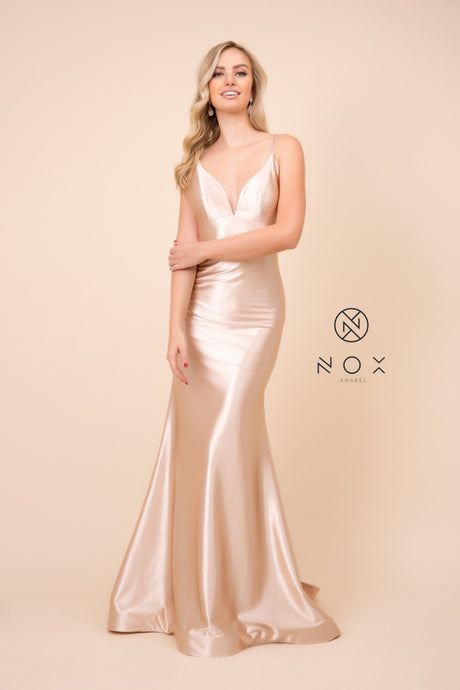 Nox N C227 - Satin Fit & Flare Prom Gown with V-Neck & Low Open Back - Diggz Prom
