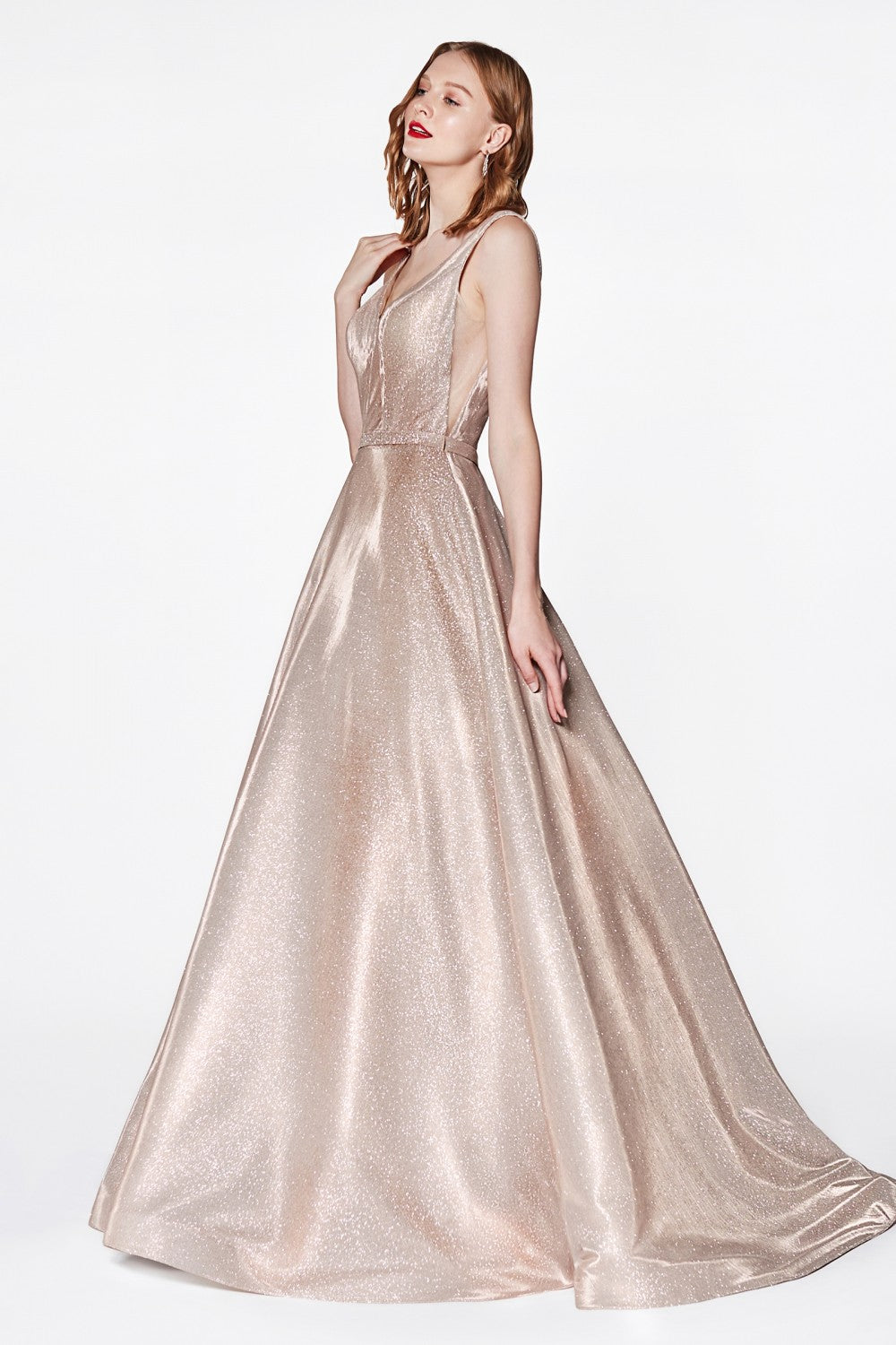 Cinderella Divine Chart I CD CB0029 - Glitter Metallic Ballgown with Plunging V-Neck & Sheer Sides - Diggz Prom