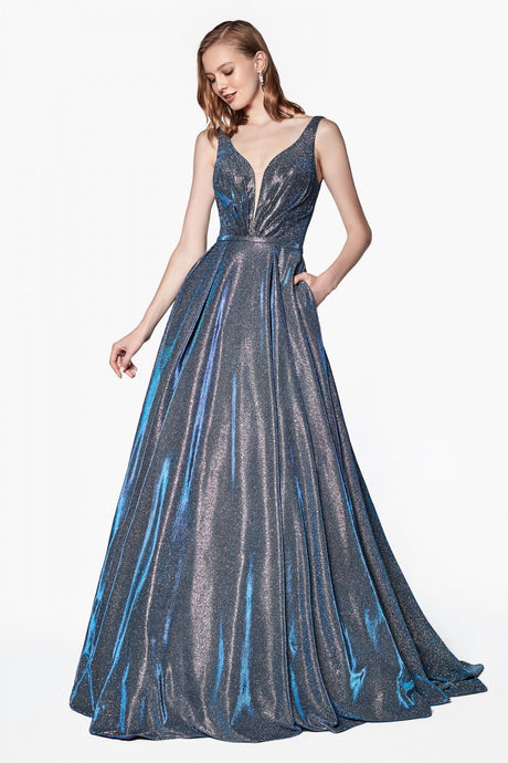 Cinderella Divine Chart I CD CB 0034 - Glittered Ball Gown with Deep Plunge Neckline & Pockets - Diggz Prom