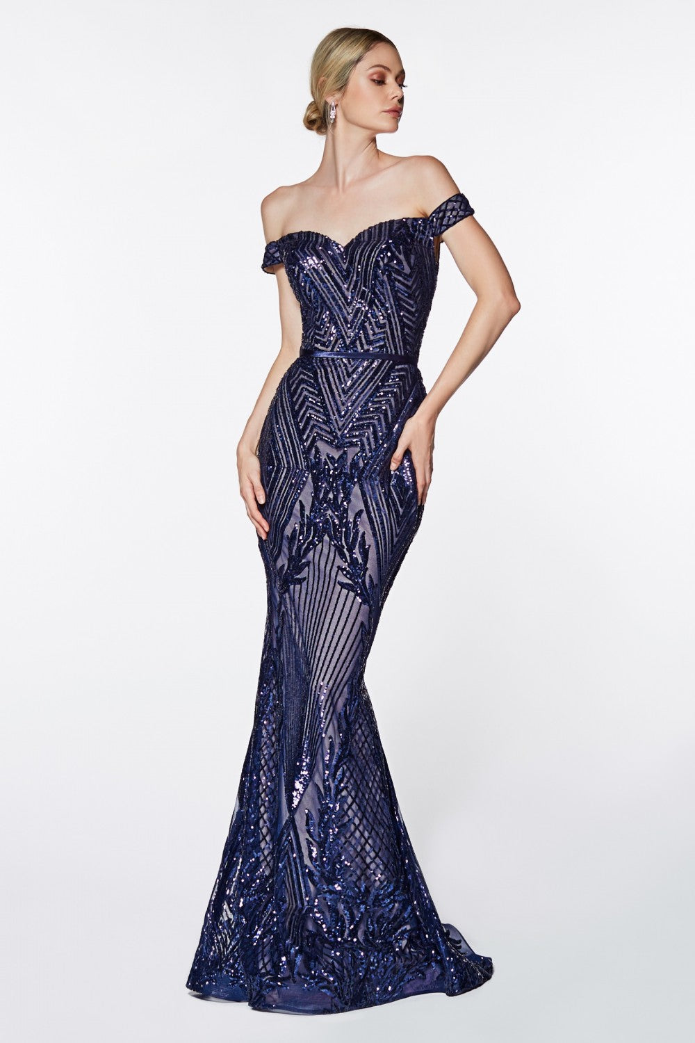 Cinderella Divine Chart I CD CB0039 - Off-the-Shoulder Gown with Geometric Sequin Detail & Sweetheart Neckline - Diggz Prom