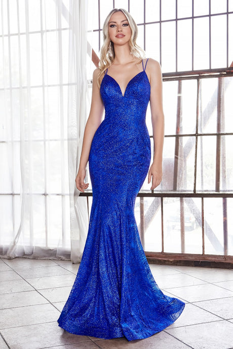 CD CB049 - Metallic Fit & Flare Prom Gown with V-Neck & Open Lace Up Corset Back