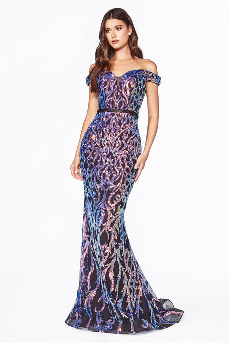 Cinderella Divine Chart I CD CB052 - Off the Shoulder Prom Gown with Iridescent Sequin Print & Sweetheart Neck - Diggz Prom