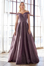 CD CB056 - Off the shoulder glitter gown with sweetheart neckline & pocket - Diggz Prom