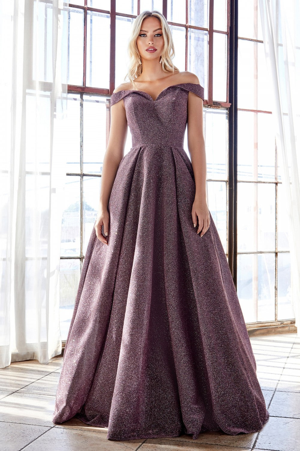 Cinderella Divine Chart I CD CB056 - Off the shoulder glitter gown with sweetheart neckline & pocket - Diggz Prom