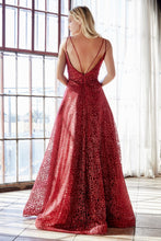 Cinderella Divine Chart I CD CB059 - Ball Gown with Glittery Rose Print Plunging V-Neck & Strappy Open Back - Diggz Prom
