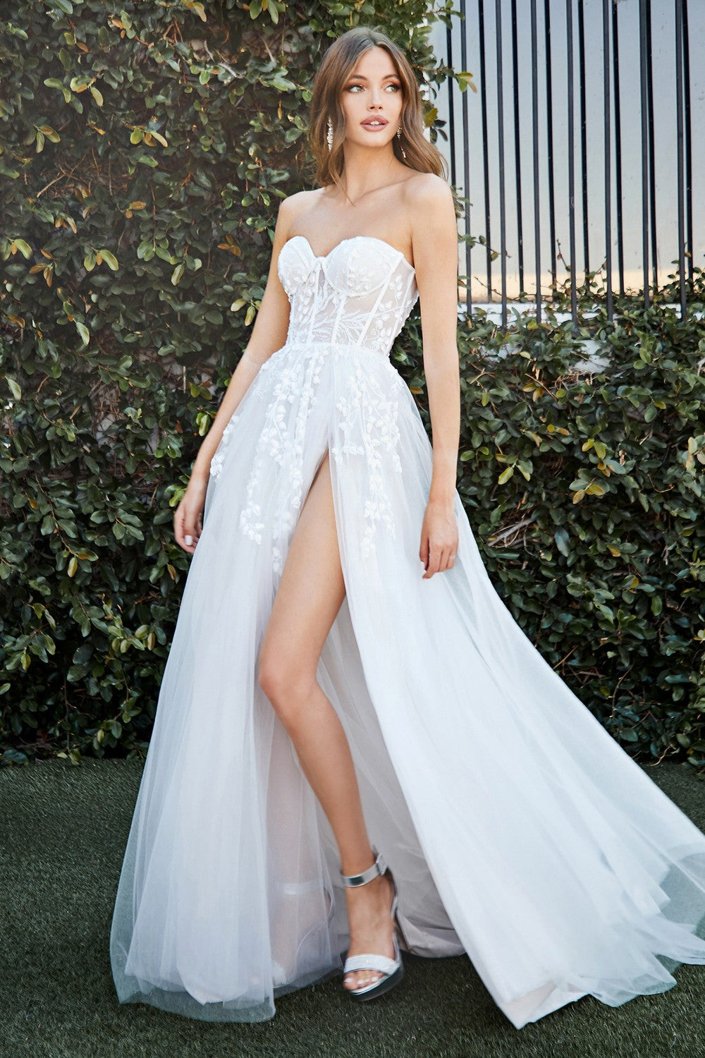 CD CB065W - Strapless A Line Wedding Gown with Floral Applique Corset Bodice & Leg Slit