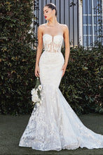 CD CB066W - Mermaid Wedding Gown with Strapless Floral Lace Bodice & Lace Skirt