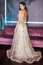 CD CB068 - A-Line Prom Gown with Floral Glitter Print & Low V Back - Diggz Prom