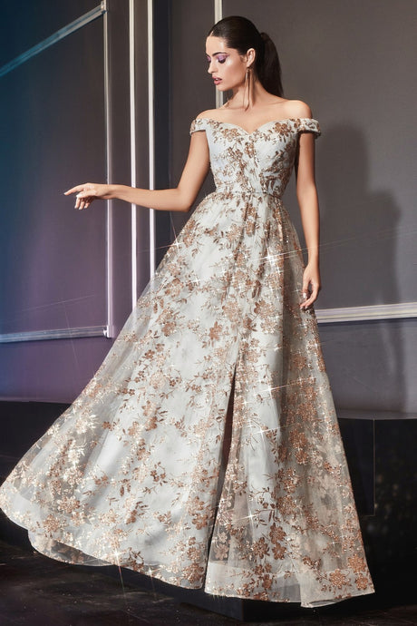 CD CB069 - Off the Shoulder A Line Prom Gown with Floral Glitter Print & Leg Slit - Diggz Prom