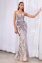 CD CD0112 - Strapless Fitted Prom Gown with Sequin & Glitter Print & Satin Belt - Diggz Prom