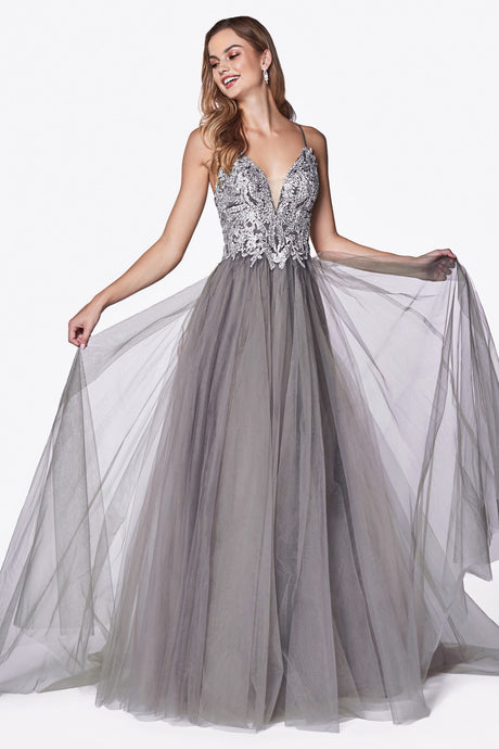 CD CD0128 - A-line tulle Prom Gown with lace bodice detail and crisscross back - Diggz Prom