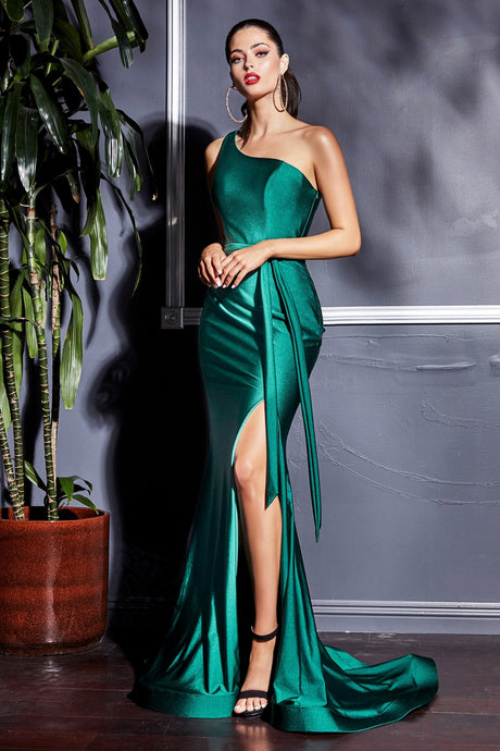 CD CD0143 - Fitted Prom Gown with One Shoulder Strap & Long Satin Belt