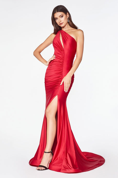 CD CD0146 - Fit & Flare Prom Gown with One Shoulder Strap & High Leg Slit