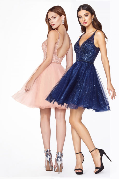 CD CD0149 - Short A-Line Party Dress with Embellished Top & Glitter Skirt