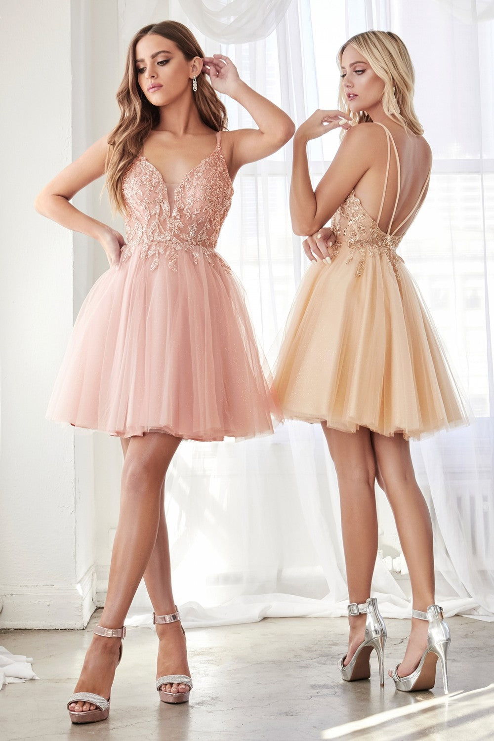 CD CD0155 - Short A-Line Party Dress with Embellished Top & Glitter Tulle Skirt - Diggz Prom