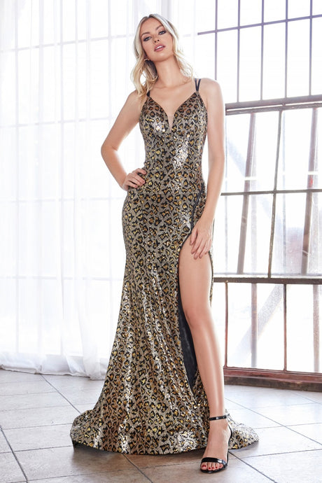 Cinderella Divine Chart I CD CD0159 - Fit & Flare leopard print sequin gown with Corset back and adjustable zipper slit. - Diggz Prom