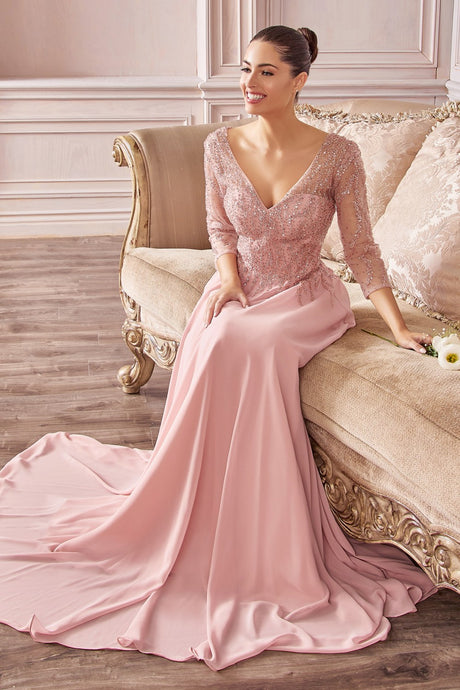 CD CD0171 - A Line Prom Gown with Embellished Long Sleeves & Flowy Chiffon Skirt - Diggz Prom