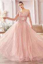 CD CD0172 - A Line Off the Shoulder Prom Gown with Long Sleeves & Sweetheart Neckline