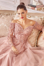 CD CD0172 - A Line Off the Shoulder Prom Gown with Long Sleeves & Sweetheart Neckline - Diggz Prom