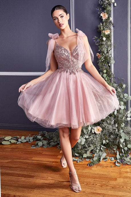 CD CD0174 - A Line Homecoming Dress with Lace Embroidered Bodice & Tulle Bow Straps