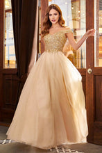 CD CD0177 - Off the Shoulder A-Line Prom Gown with Beaded V-Neck Bodice & Layered Shimmer Tulle Skirt - Diggz Prom