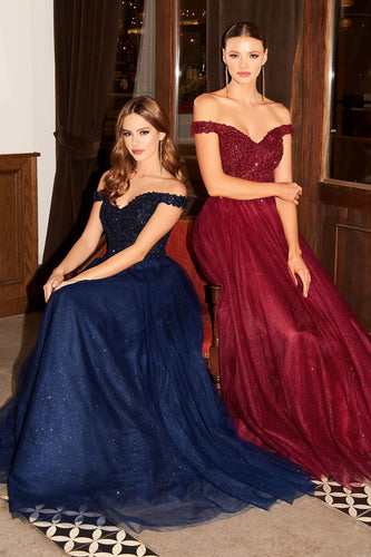 CD CD0177 - Off the Shoulder A-Line Prom Gown with Beaded V-Neck Bodice & Layered Shimmer Tulle Skirt