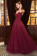 CD CD0178 - A-Line Prom Gown with Bead Embellished V-Neck Bodice & Layered Shimmer Tulle Skirt - Diggz Prom