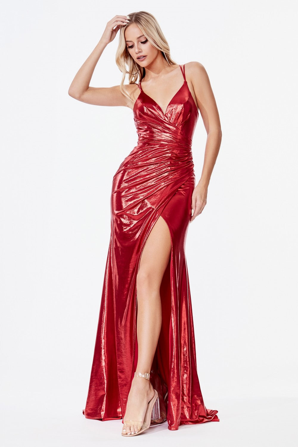 Cinderella Divine Chart I CD CD164 - Fitted Metallic Gown with Leg Slit and Gathered Waistline - Diggz Prom