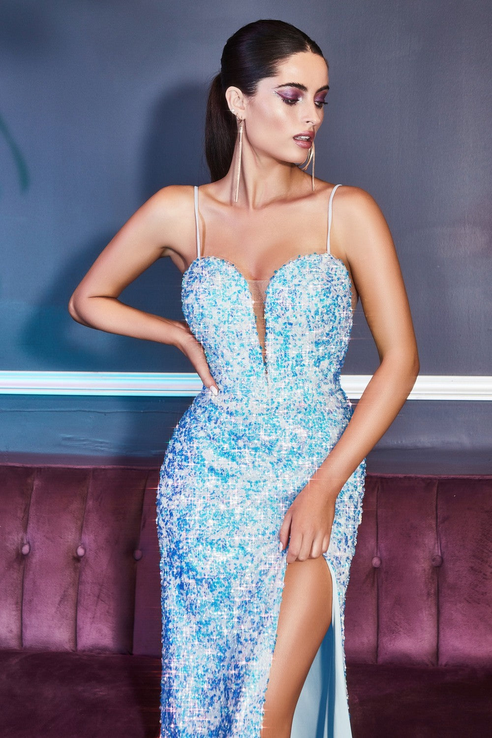 CD CD176 - Iridescent Sequin Fit & Flare Prom Gown with V-Neck Spaghetti Straps & Leg Slit