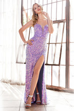 CD CD176 - Slim fit iridescent sequin gown with deep sweetheart neckline and high leg slit. - Diggz Prom