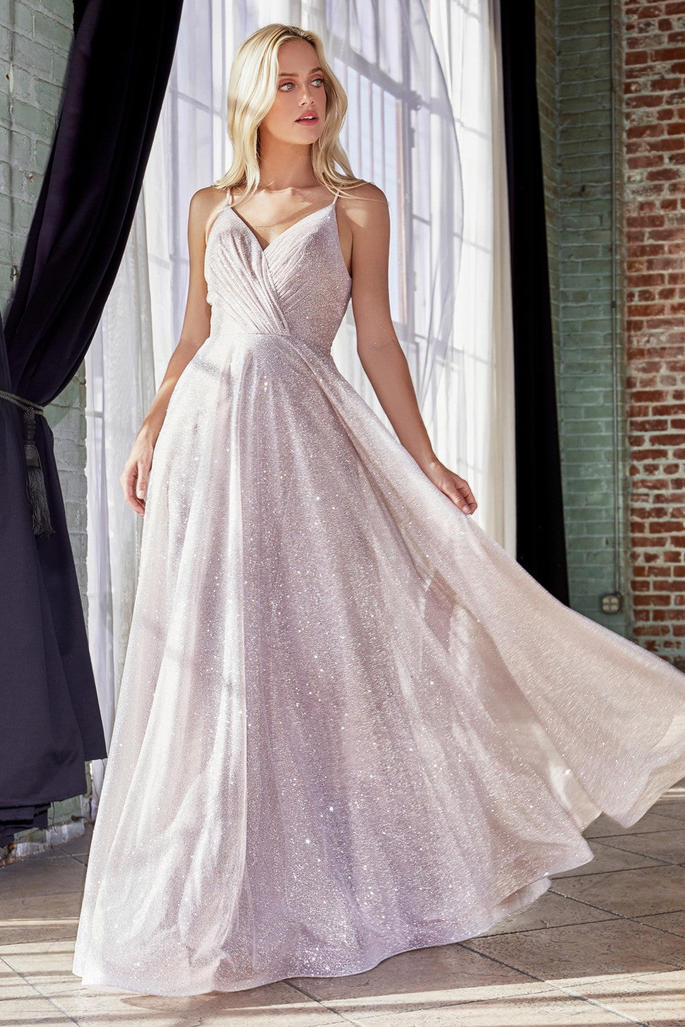 Cinderella Divine Chart I CD CD186 - Glitter Metallic A-line Prom Gown with Pleated Bodice and Deep V-Back - Diggz Prom