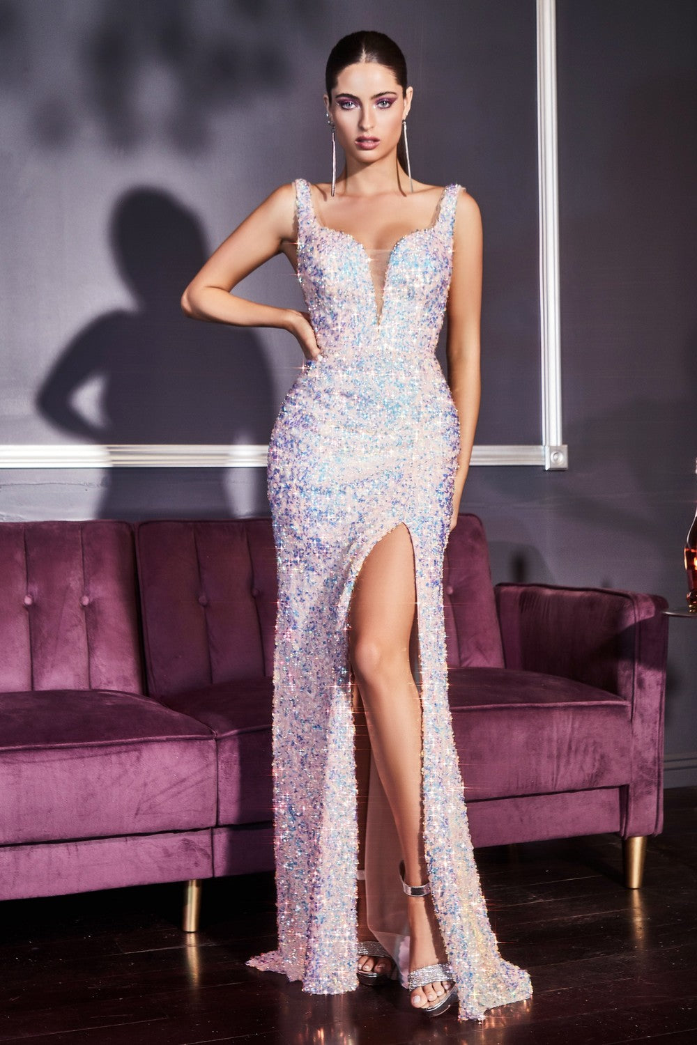 CD CDS187 - Iridescent Sequin Fit & Flare Prom Gown with Sheer Sides V-Neck Open V-Back & Leg Slit - Diggz Prom