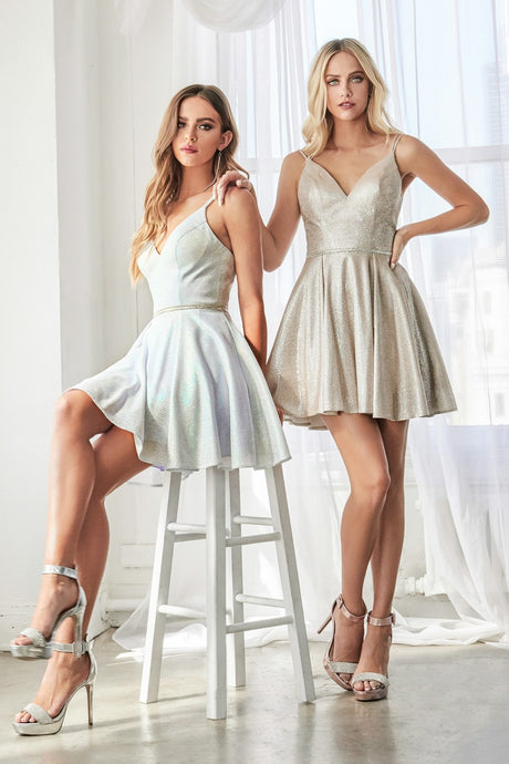 Cinderella Divine Chart I CD CD201 - Short Cocktail Dress with Metallic Sparkle Finish and Beaded Belt - Diggz Prom
