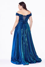 CD CD210C - Plus Size Off The Shoulder Metallic A-Line Gown with Sweet heart Neck & Corset Back - Diggz Prom