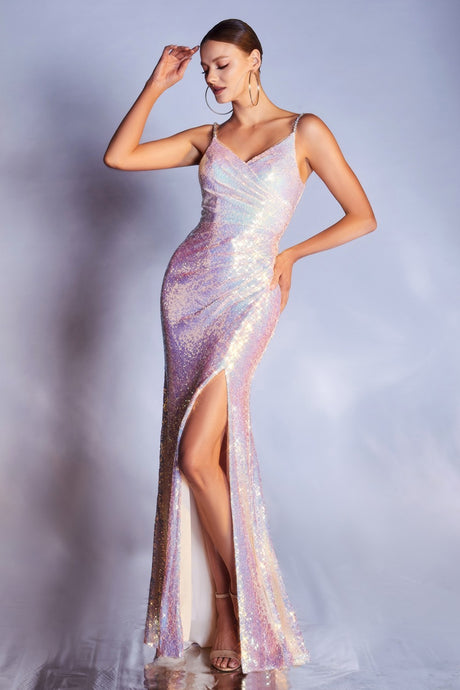 CD CD211 - Fitted Sequin Iridescent Prom Gown with Beaded Straps & High Leg Slit