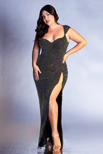 CD CD216C - Crystal Fused Plus Size Fit & Flare Prom Gown with Sweetheart Neck & High Leg Slit - Diggz Prom