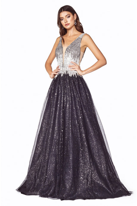 CD CD70 - A Line Prom Gown with Track Beaded Bodice & Glitter Tulle Skirt - Diggz Prom