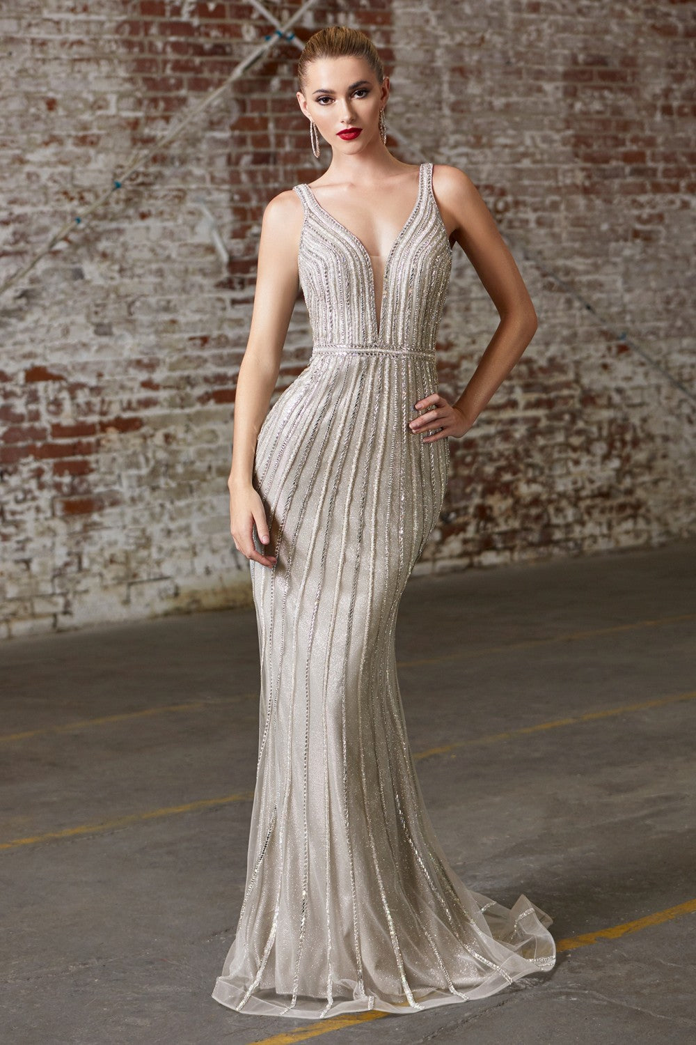 CD CD901 - Fully Beaded Fit & Flare Prom Gown with V-Neck Open Back & Train
