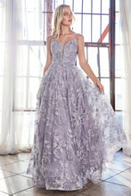 Cinderella Divine Chart I CD CD902 - A-Line Ball Gown with Plunging V-Neck Spaghetti Straps & Layered Lace Applique Skirt - Diggz Prom